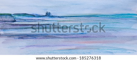 Original watercolour sketch of a sea scape. The seascape shows the towers of Reculver in Kent in the background and the sea, sky and beach. - stock photo
