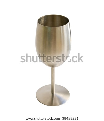 Original wine glass from stainless steel (goblet) isolated on white with clipping path