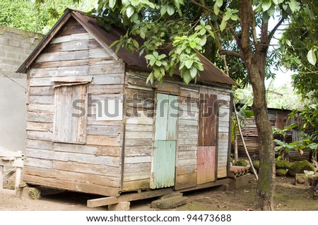 original 90 year old Caribbean style clapboard house with zinc roof Corn Island Nicaragua Central America zinc house in background
