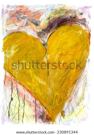 Original Yellow and Pink Grunge Heart Painting - stock photo