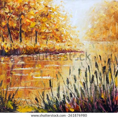 Original yellow oil painting autumn island seascape, beautiful autumn on canvas. Golden autumn in foggy river. Palette knife artwork. Impressionism. Art. - stock photo