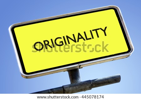 ORIGINALITY word on roadsign with yellow background
