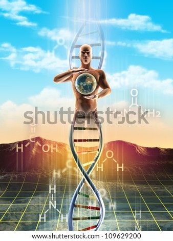 Origins of life: from simple molecules to dna. An human being materialize from dna and holds the Earth between its hands. Digital illustration. - stock photo
