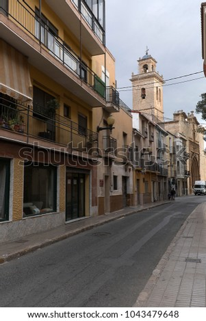 Orihuela, Spain. February 26, 2018: Santiago Street in the city of Orihuela, province of Alicante, Spain.
