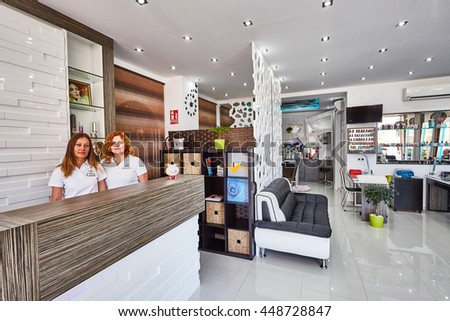 Orihuela, Spain- June 15, 2016: Beauty salon with modern design in European country. Manicure and hairdressing service