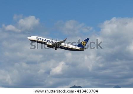 ORIO AL SERIO, BERGAMO, ITALY - CIRCA SEPTEMBER 2015: Ryanair aircraft Boeing 737-800 during take off - stock photo