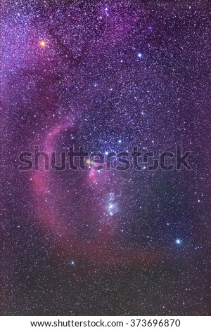 Orion Constellation and Barnard's Loop Nebula Constellation of Orion in real night sky Orion The Hunter  - stock photo