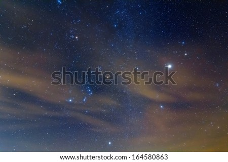 orion constellation and jupiter planet