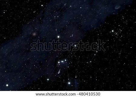 Orion constellation in the deep sky background