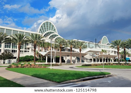 ORLANDO, FL - FEB 6: The Orange County Convention Center on International Drive on February 6, 2012 in Orlando. It offers 7M sq ft space and ranks as the second largest convention center in the US. - stock photo