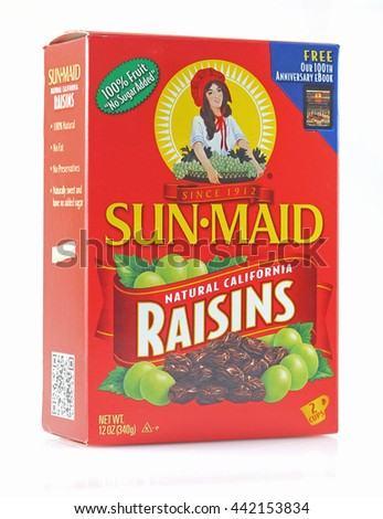 ORLANDO, FL - June 24, 2015: Sun Maid brand raisins are an all nature product from California.  Marketed and sold since 1912.