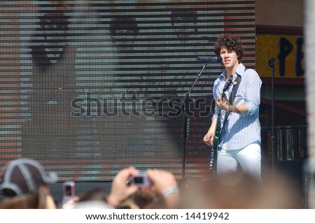 ORLANDO, FL - MARCH 28; Jonas Brothers performing on the Ellen Show at Universal Studios CityWalk. March 28, 2008