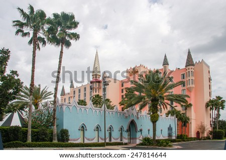 ORLANDO, FL, USA - MARCH 10, 2008: Castle hotel on International Drive in Orlando, USA on March 10, 2008.  - stock photo