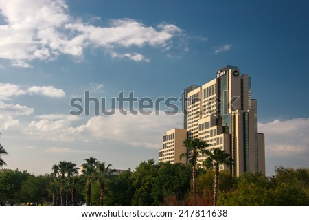 ORLANDO, FL, USA - MARCH 10, 2008: The Peabody Hotel on International Drive in Orlando, USA on March 10, 2008. In 2013 it was sold for $717 million and renamed as Hyatt Regency Orlando.   - stock photo