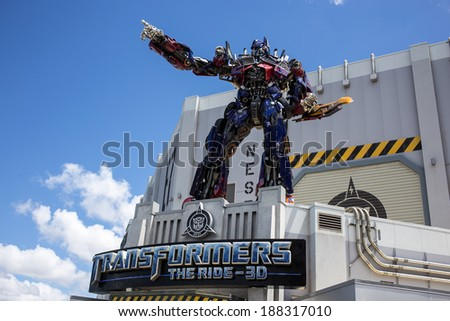 ORLANDO, FLORIDA � APRIL 19th: Front entrance to Transformers The Ride 3D at the Universal Studios theme park in Orlando, Florida on April 19th, 2014. - stock photo