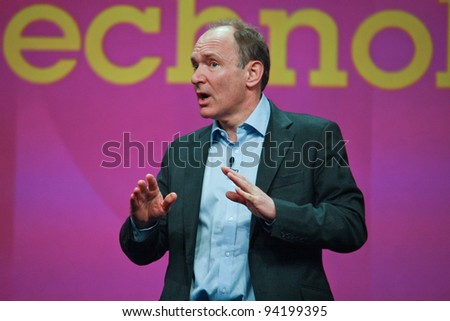 ORLANDO, FLORIDA - JANUARY 18: Inventor and founder of World Wide Web Sir Tim Berners-Lee delivers an address to IBM Lotusphere 2012 conference on January 18, 2012 in Orlando, Fl. He  speaks about social Web - stock photo