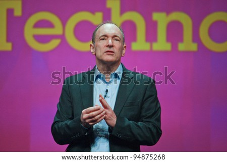 ORLANDO, FLORIDA - JANUARY 18: Inventor and founder of World Wide Web Sir Tim Berners-Lee delivers an address to IBM Lotusphere 2012 conference on January 18, 2012 in Orlando, Florida. He  speaks about social Web - stock photo