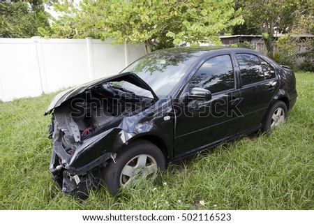 ORLANDO, FLORIDA - SEPTEMBER 27:  Car shows damage sustained after an accident with another vehicle.  Taken September 27, 2016 in  Florida.
