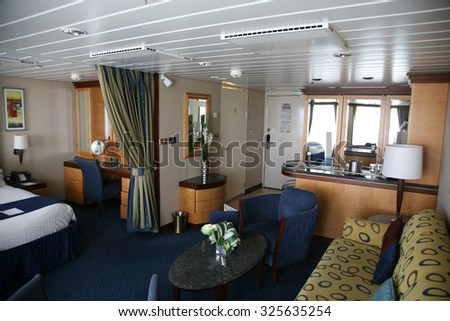 Orlando, Florida  September 26, 2015: Cruise ship Royal Caribbean Suite Cabin views on September 26, 2015. - stock photo