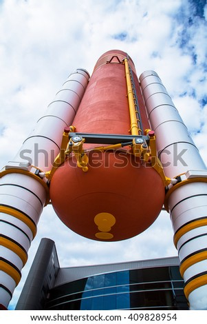 Orlando, Florida/USA April 10 2013: Huge rocket standing at the Kennedy space center museum - stock photo
