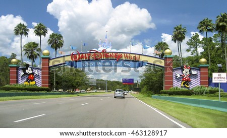 Orlando, Florida, USA - August 19, 2015: Entrance of Walt Disney World in Orlando, Florida