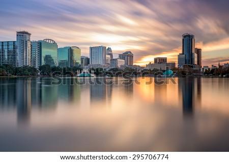 Orlando, Florida, USA skyline at Eola Lake. - stock photo