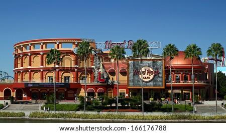ORLANDO - OCT 25: The Hard Rock Cafe at Universal City Walk in Orlando. Taken October 25, 2013 in Orlando, FL. - stock photo