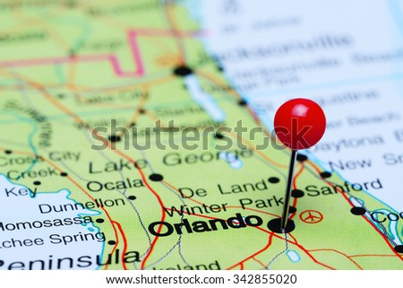 Orlando pinned on a map of USA  - stock photo