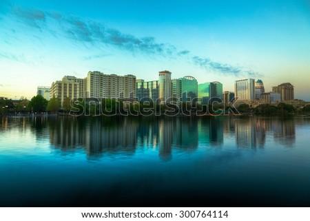 Orlando Skyline at Dusk - stock photo