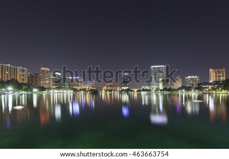 Orlando Skyline morning twilight on the skyline of Orlando at lake Eola