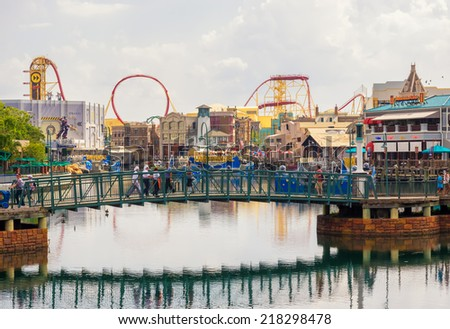ORLANDO,USA - AUGUST 23, 2014 : General view of the  Universal Studios Florida theme park - stock photo