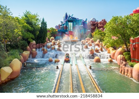 ORLANDO,USA - AUGUST 24, 2014 : The Dudley Do-Right Ripsaw Falls ride at Universal Studios Islands of Adventure theme park - stock photo