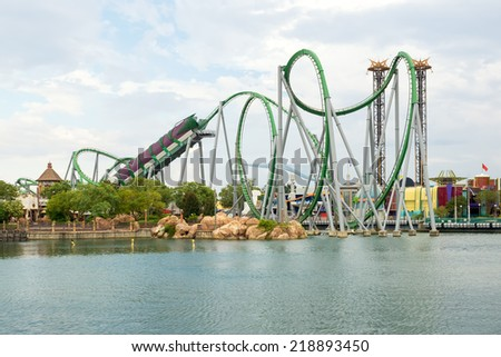 ORLANDO,USA - AUGUST 24, 2014 : The Hulk Rollercoaster at  Universal Studios Islands of Adventure theme park - stock photo