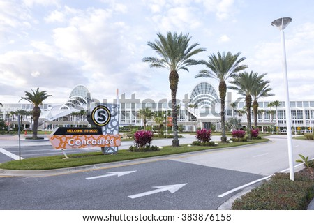 ORLANDO, USA - FEBRUARY 21, 2016: The south concourse of the Orange County Convention Center is a beautiful architectural masterpiece. - stock photo