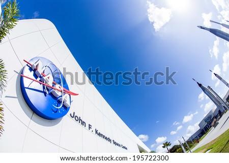 ORLANDO, USA - JULY 25, 2010: Nasa icon at the entrance of Kennedy space center  in Orlando, USA. - stock photo