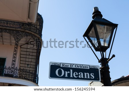 Orleans street sign in the French Quarter in New Orleans, Louisiana. - stock photo