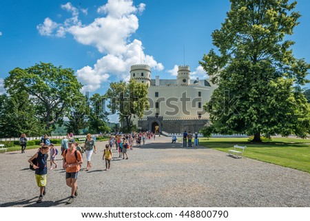 ORLIK, CZECH REPUBLIC - JULY 1, 2016: Students leave Orlik Castle after their visit on a beautiful sunny day