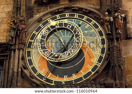 Orloj astronomical clock in Prague in Czech Republic - stock photo