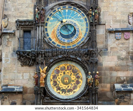 Orloj astronomical clock in Prague in Czech Republic. - stock photo