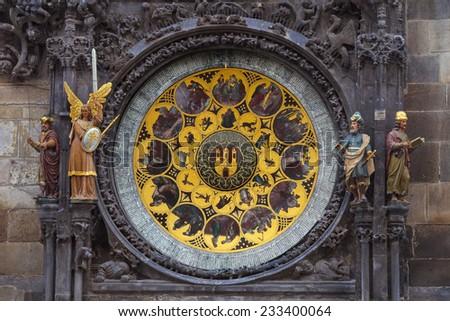 Orloj clock of old town hall in Prague, Czech republic - stock photo