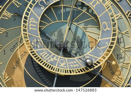 Orloj - Prague astronomical clock on the wall of town hall