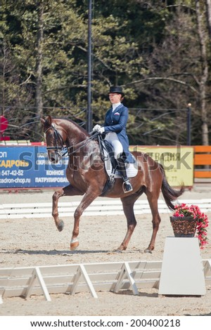 """ORLOVO, MOSCOW - JUNE 22 2014. International Dressage in National Horse Park """"Rus"""" """"Vivat, Russia!"""" The Final day. Medalist Marina Aframeeva horse named Vosk - stock photo"""