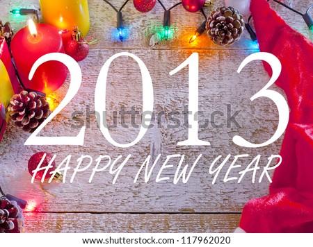 Ornament design of happy new year - stock photo