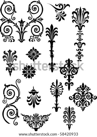 ornament elements collection isolated on white background