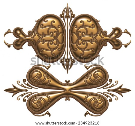 Ornament elements, vintage gold floral design on white background.
