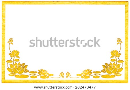 Ornament elements, vintage gold floral stucco designs with frame isolated on white background include clipping path