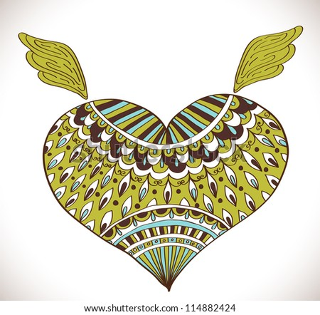 Ornament heart shape for your design,Valentine background with heart - stock photo