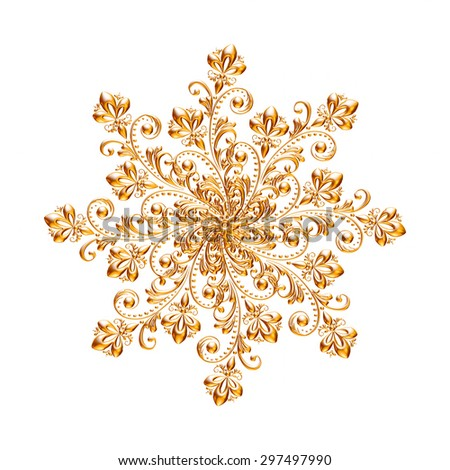 Ornament of gold plated vintage floral ,thai art Style - stock photo