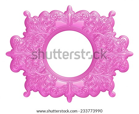 Ornament pink frame on white background - stock photo