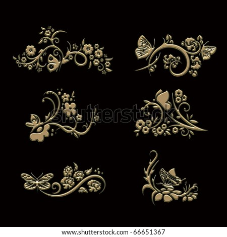 ornament sets 3d embossed pattern - stock photo